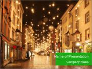 Street in a Christmas night PowerPoint Templates