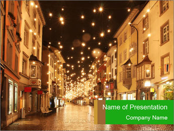 Street in a Christmas night PowerPoint Templates - Slide 1