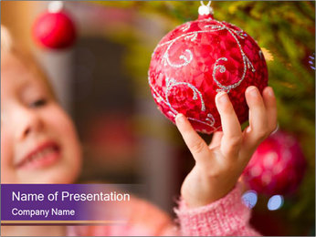 Girl helping decorating the Christmas tree PowerPoint Templates - Slide 1