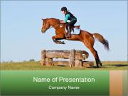 Woman jumping horse PowerPoint Templates