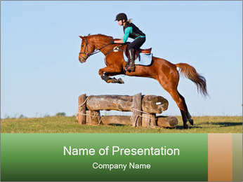 Woman jumping horse PowerPoint Templates - Slide 1
