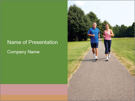Couple jogging in park PowerPoint Templates