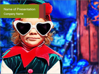 Little girl in Christmas elf costume PowerPoint Templates - Slide 1