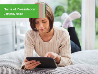 Woman using tablet pc PowerPoint Templates - Slide 1