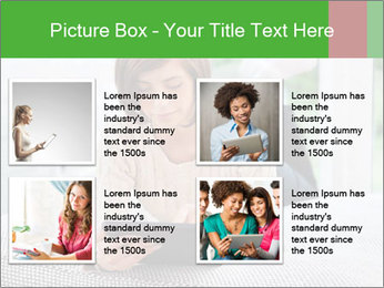 Woman using tablet pc PowerPoint Template - Slide 14