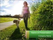 Golden retriever walking PowerPoint Template
