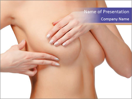 Female controlling breast PowerPoint Template