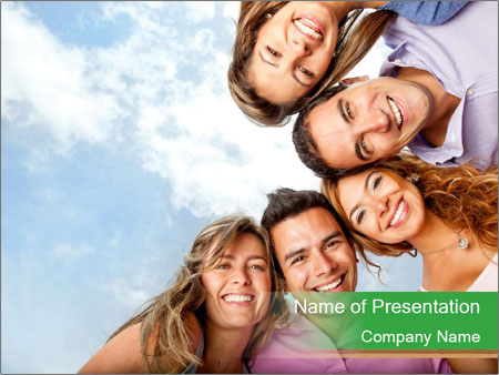 Friends smiling PowerPoint Template