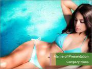 Beauty in blue bikini PowerPoint Templates