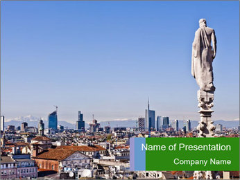 Milan panoramic skyline PowerPoint Template