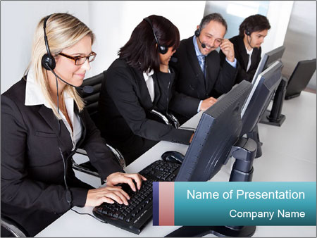 Customer service people PowerPoint Template
