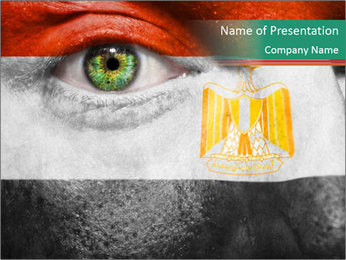 Flag painted on face PowerPoint Template - Slide 1