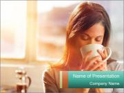 Woman drinking coffee PowerPoint Templates