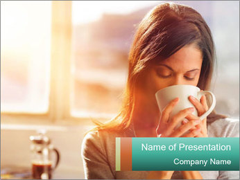 Woman drinking coffee PowerPoint Template - Slide 1