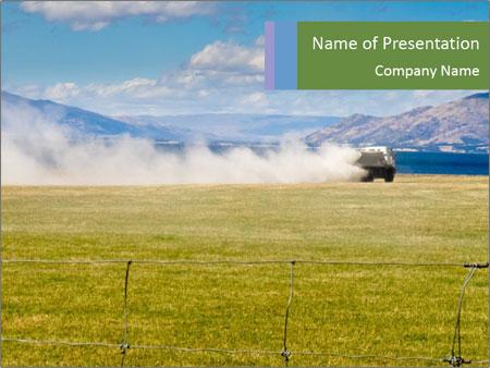 Truck spreading fertilizer PowerPoint Template