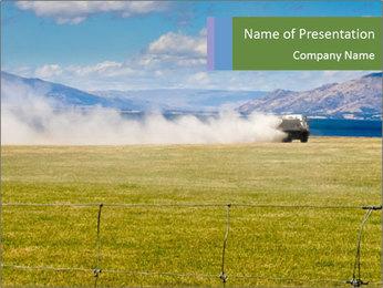 Truck spreading fertilizer PowerPoint Template - Slide 1