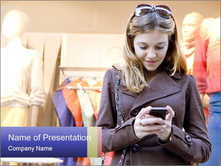 Girl looking at phone PowerPoint Templates
