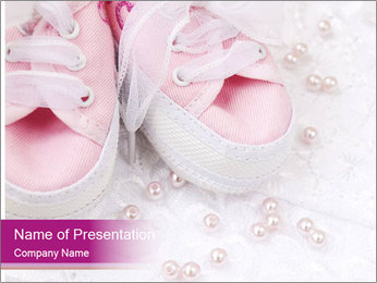 Pair of pink Babies shoes PowerPoint Template - Slide 1