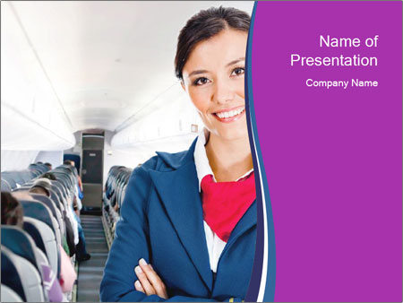 Beautiful flight attendant PowerPoint Template