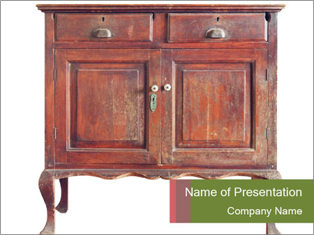 Wooden cabinet PowerPoint Template