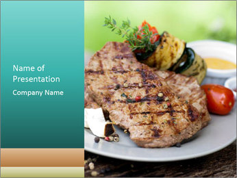 Barbecue, steak PowerPoint Template