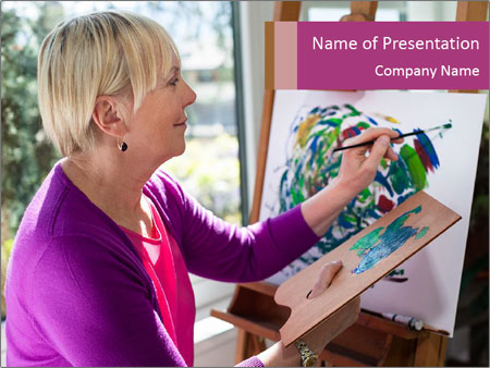 Woman painting PowerPoint Template