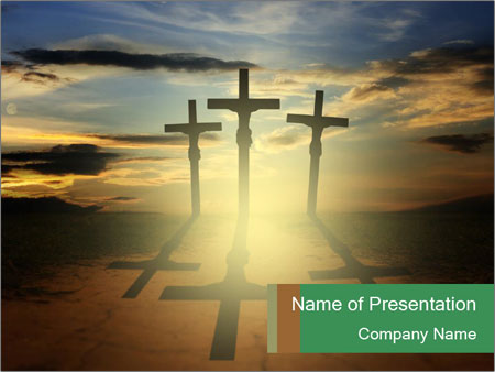 Еhree easter crosses PowerPoint Template