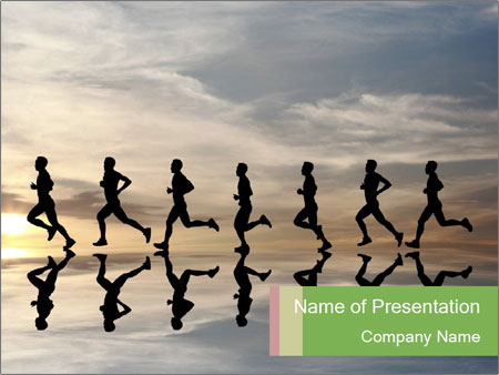 Silhouette of runner PowerPoint Template