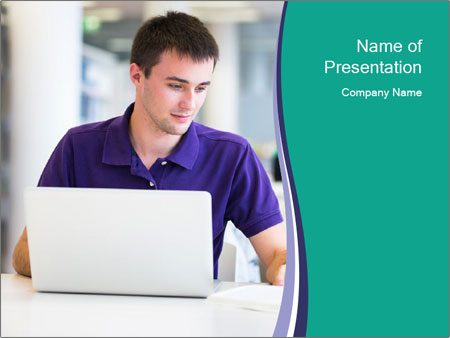 Handsome college student PowerPoint Templates
