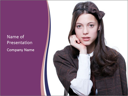 Young beautiful school girl PowerPoint Template