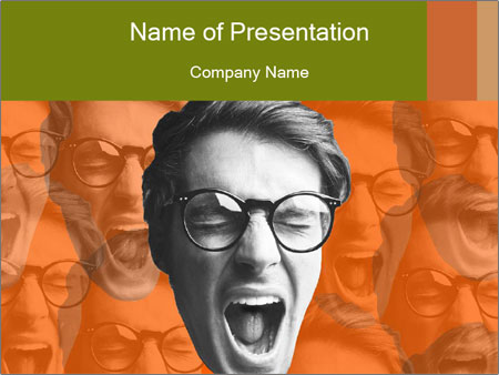 Boy screaming PowerPoint Templates