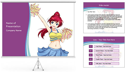 Cute happy cheerleader PowerPoint Template