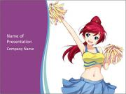 Cute happy cheerleader PowerPoint Templates