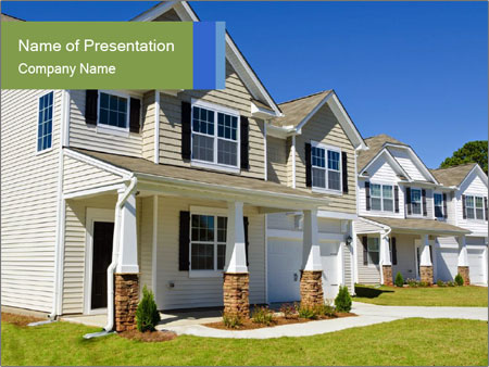 Street of residential houses PowerPoint Templates