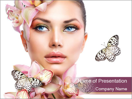 Girl With Orchid Flowers PowerPoint Templates