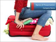 Suitcase crammed PowerPoint Template