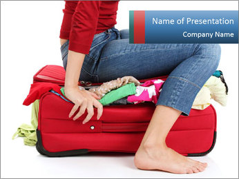 Suitcase crammed PowerPoint Template - Slide 1
