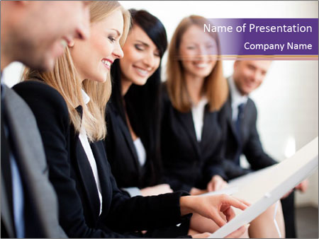 Businesswoman explaining PowerPoint Template