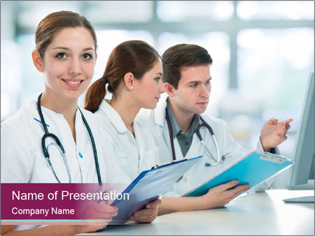 Group of medical students PowerPoint Template