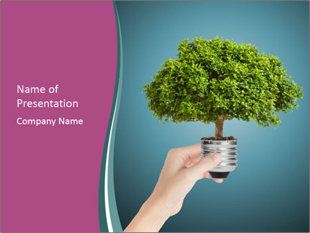 Hand hold eco green PowerPoint Templates