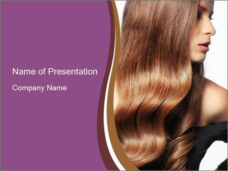Long glossy hair PowerPoint Template