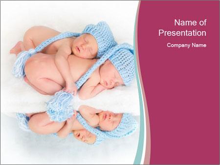 Newborn twins PowerPoint Template