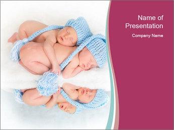 Newborn twins PowerPoint Template - Slide 1