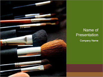 Make-up brushes PowerPoint Templates - Slide 1