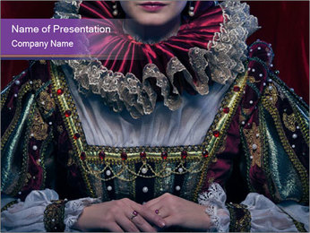 Queen in royal dress PowerPoint Template - Slide 1