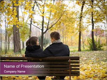 Young couple sitting PowerPoint Templates - Slide 1