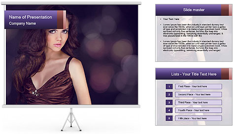 Woman with Healthy Long Hair PowerPoint Template