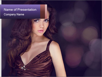 Woman with Healthy Long Hair PowerPoint Template - Slide 1