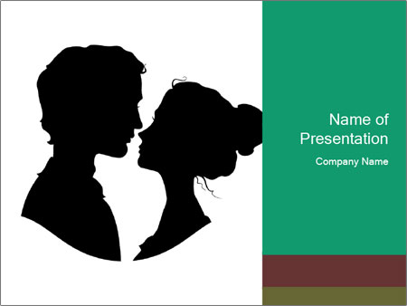 Silhouettes of loving couple PowerPoint Templates