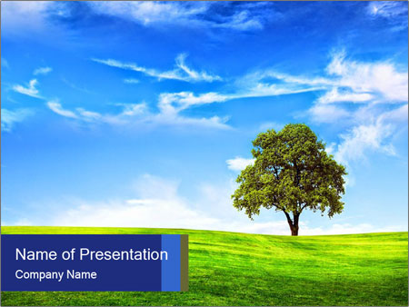 Tree and blue sky PowerPoint Template